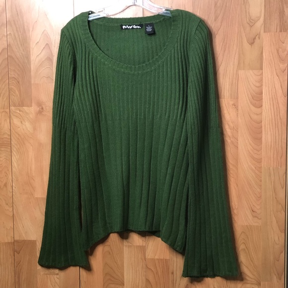 Planet Gold Sweaters - Large Olive Dark Green Sweater with Bell Sleeves